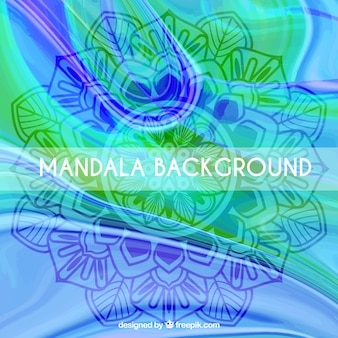 Mandala background with wavy paint stains