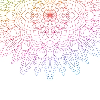 Mandala design with rainbow colours