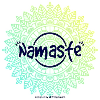 Mandala namaste lettering background