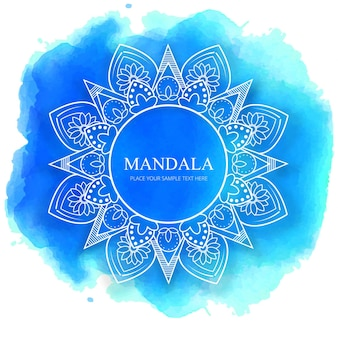Mandala on blue watercolor background