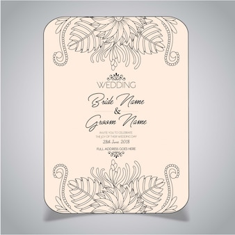 Mandala Style Floral Wedding Invitation Card