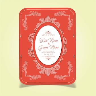 Mandala Style Red Wedding Invitation Card
