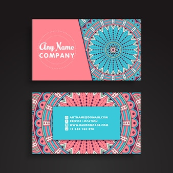 Mandala visiting card in pastel colors