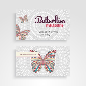Mandala visiting card with butterfly design