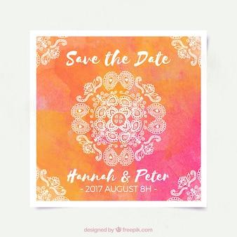 Mandala wedding invitation gradient design