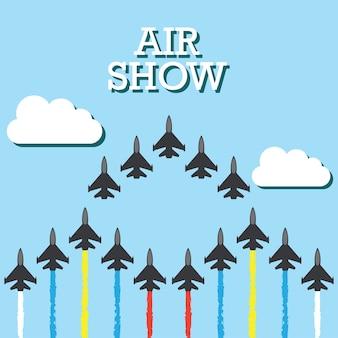 航空ショーのバナーのための青空の戦闘機の操縦。ベクトルイラスト