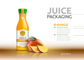 Mango juice packaging Realistic Vector mock up.