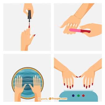 Manicure steps vector