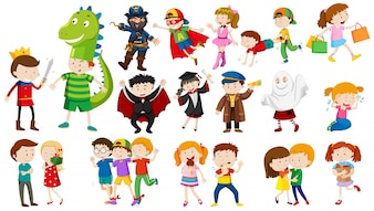 Many kids in different costumes illustration