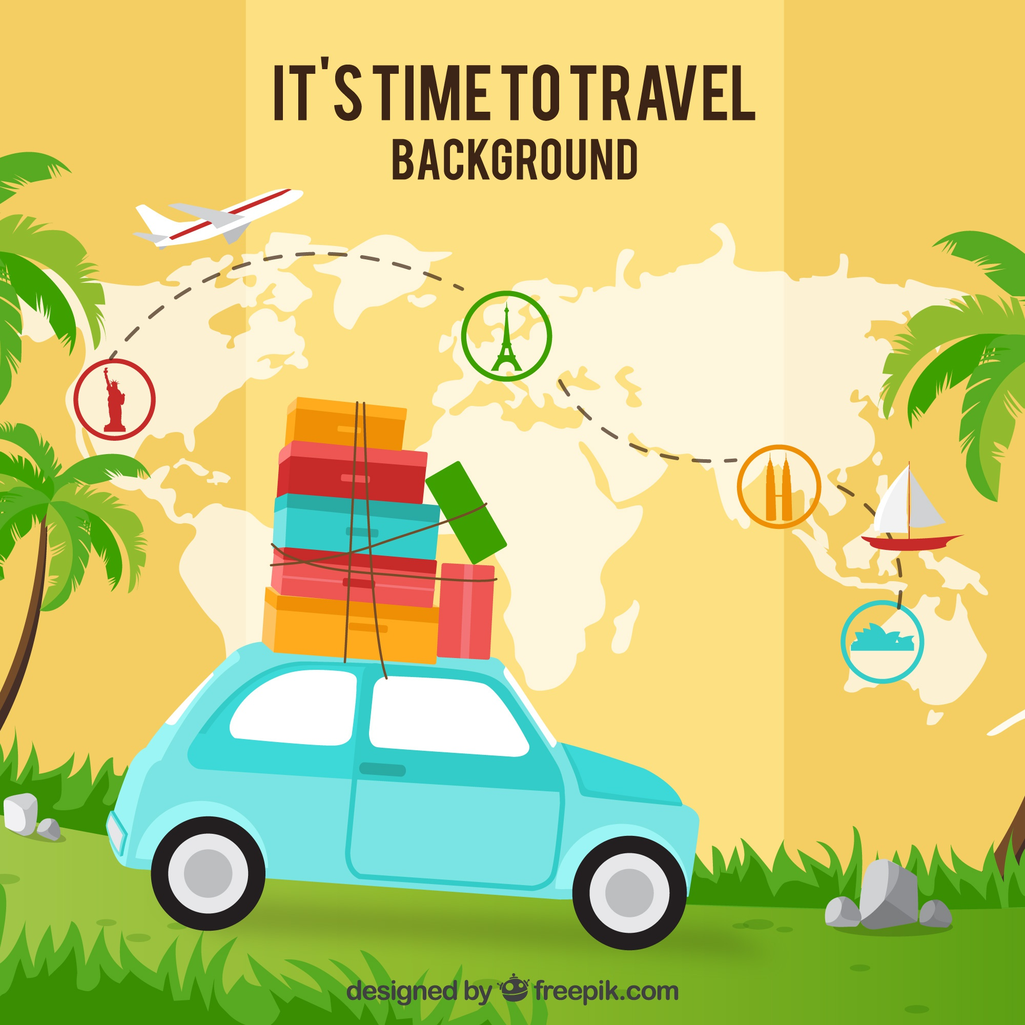 Map background and car with suitcases