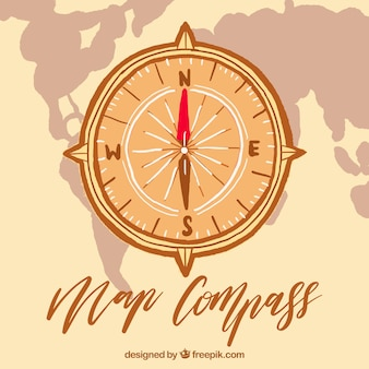 Map compass with world map