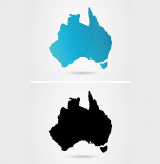 Map of Australian continent in blue and black