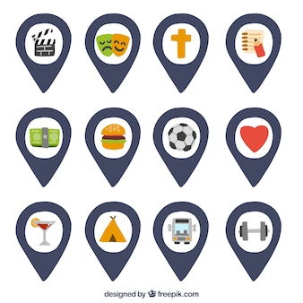 Map pointers with a variety of icons