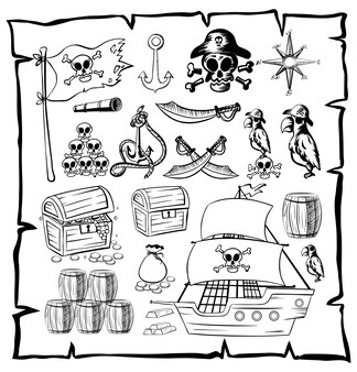 Map with pirate symbols