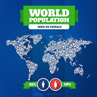 Map world population day background with women and man percentage