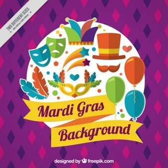Mardi gras background with colorful elements