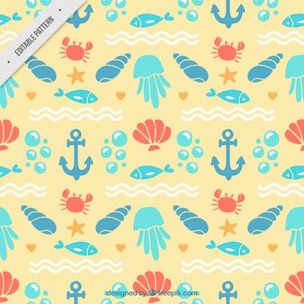 Marine animals with elements pattern