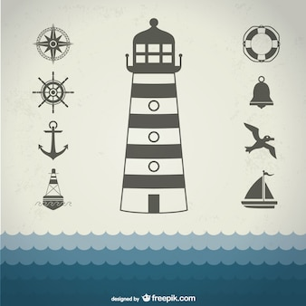 Marine elements with anchor, lighthouse and seagull