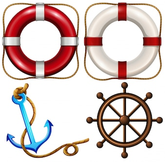 Marine symbol with safety rings and anchor