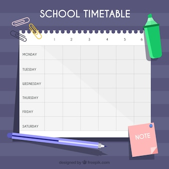 Marker, pen, post it and school timetable