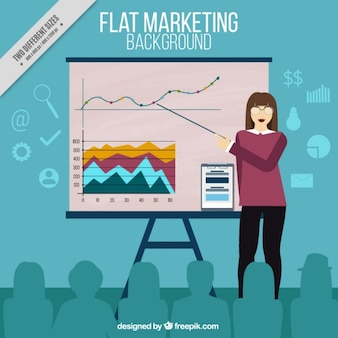 Marketing background with businesswoman showing a presentation
