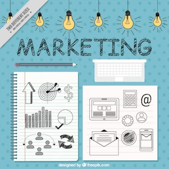 Marketing background with icons and light bulbs