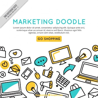 Marketing doodle background template
