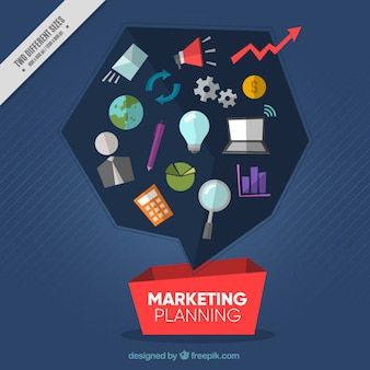 Marketing planning background in flat design