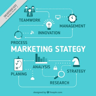 Marketing strategy background in blue tones