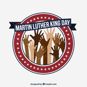 Martin Luther King Day with hands rounded badge