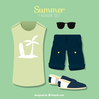 Masculine beach clothes with accessories