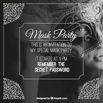Mask party invitation