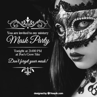 Masks party invitation
