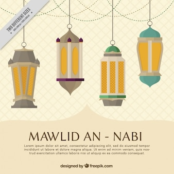 Mawlid an nabi background with lanterns