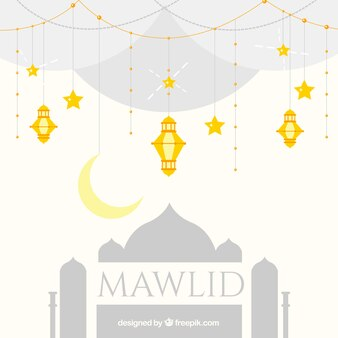 Mawlid background with mosque and golden lanterns