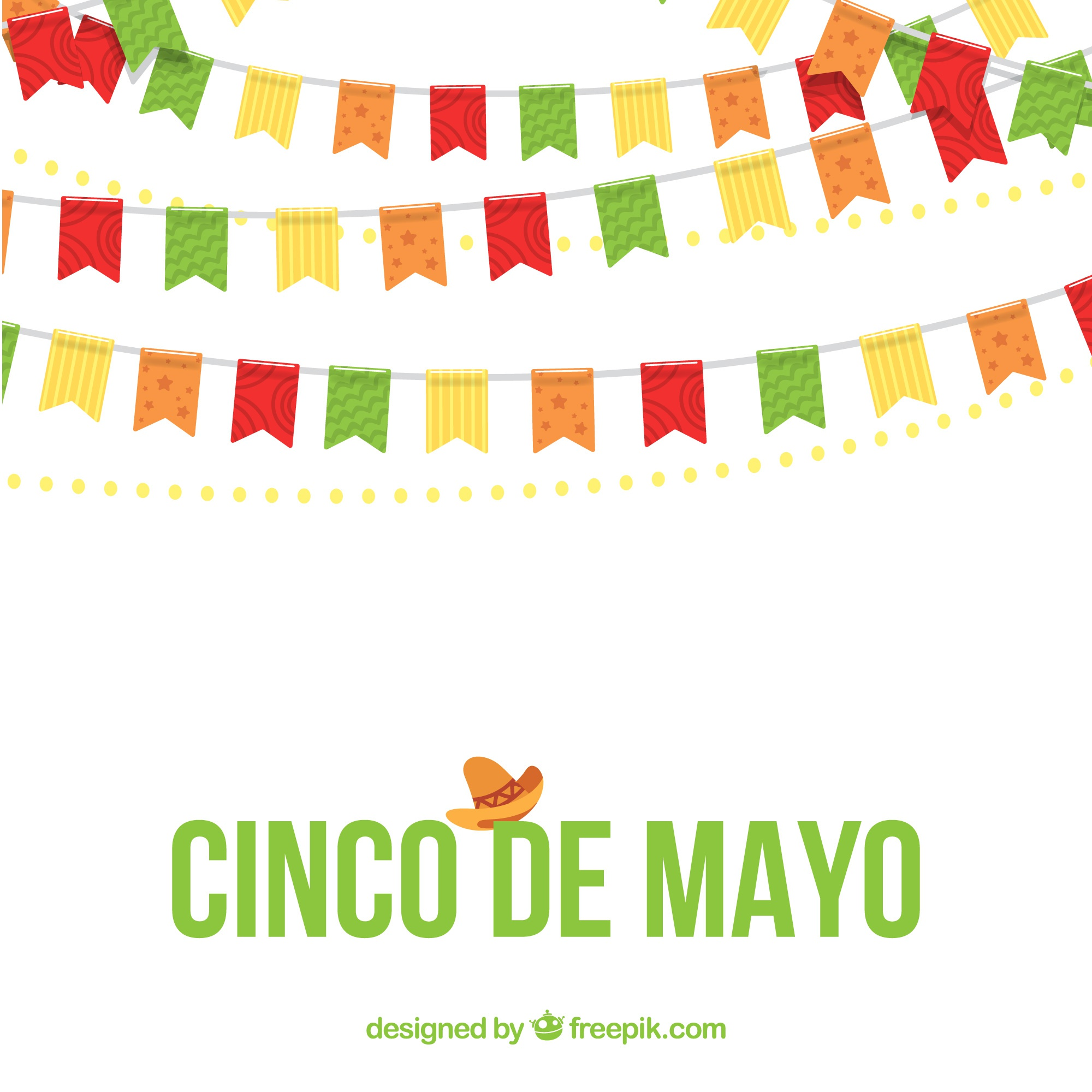May five background with decorative garlands