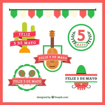 May five festive mexican badges