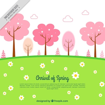 Meadow background with pink trees