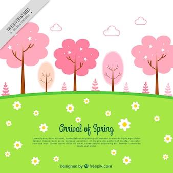 Луг фон с розовыми деревьями