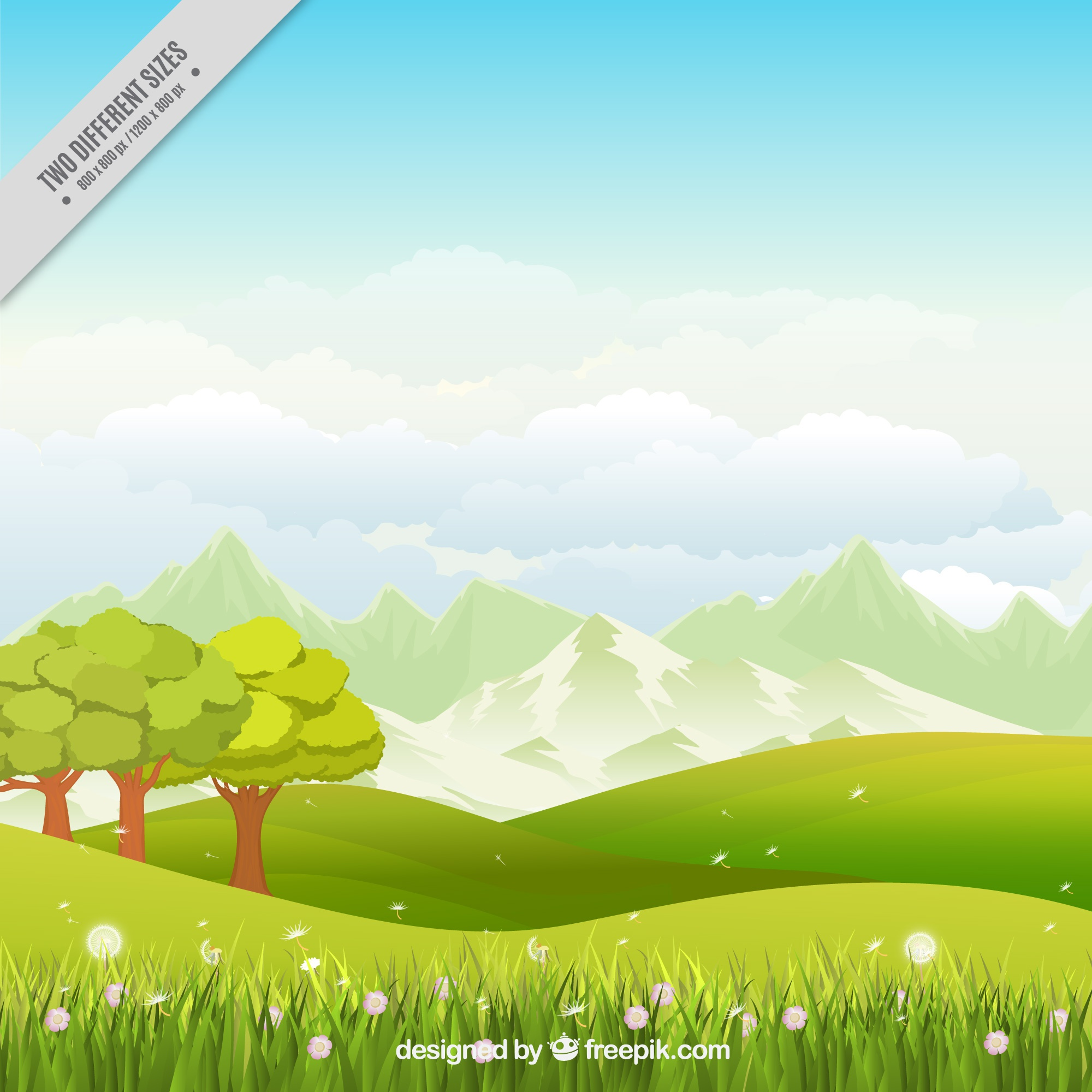 Meadow background with trees and flowers