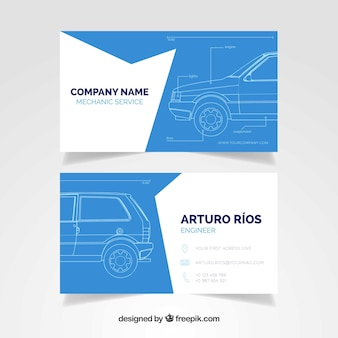 Mechanical service card with sketch
