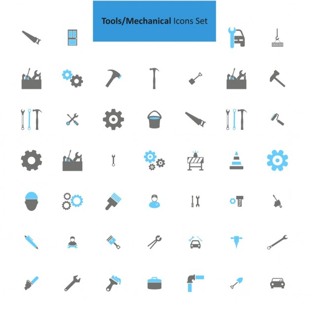 Mechanical tools icons collection