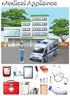 医療器具と病院のイラスト