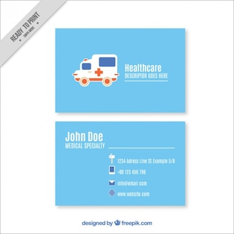Medical card with an ambulance