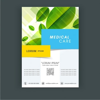 Medical care flyer template with leaves