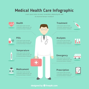 Medical health care infography in flat design