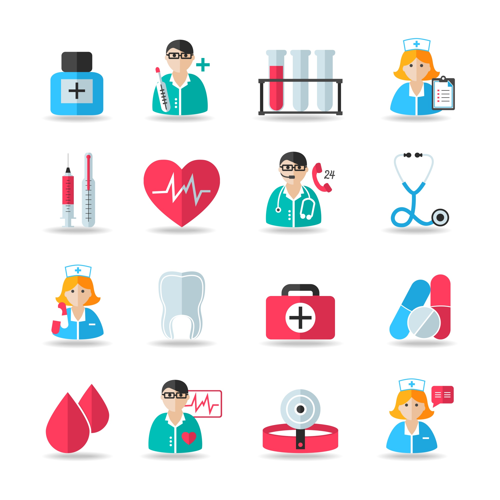 Medical healthcare icons set of heart tooth pill syringe isolated vector and doctor avatars illustration