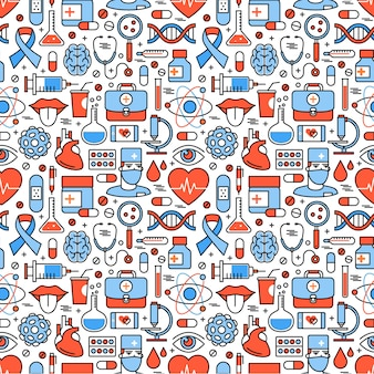 Medical icons square seamless pattern