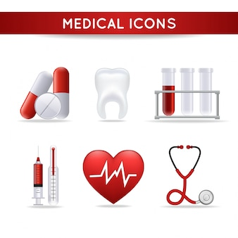 Medical icons with red details