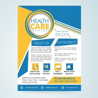 Medical leaflet with orange and blue forms